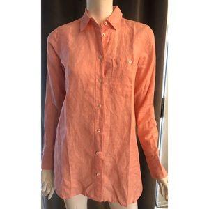 JCrew Coral Long Sleeve Button Down Cotton Linen